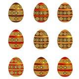 Conjunto de nueve huevos de Pascua Foto de archivo libre de regalías