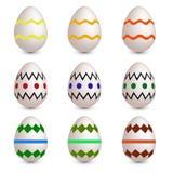 Conjunto de nueve huevos de Pascua Fotografía de archivo