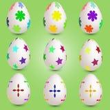Conjunto de nueve huevos de Pascua Fotografía de archivo libre de regalías