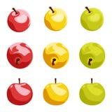 Conjunto de nueve manzanas. ejemplo. stock de ilustración