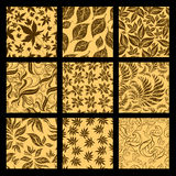 Conjunto de nueve modelos inconsútiles del otoño. Thanksg Foto de archivo libre de regalías