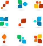 Conjunto de nueve símbolos coloridos, ilustración Imagen de archivo