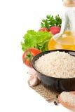 Conjunto de nutrición y de alimento sano en blanco foto de archivo libre de regalías
