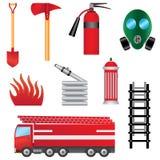 Conjunto de objetos de la prevención contra los incendios. Imagen de archivo libre de regalías