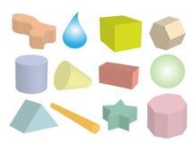 Conjunto de objetos geométricos en colores multi Imagen de archivo