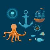 Conjunto de objetos marinos Foto de archivo libre de regalías