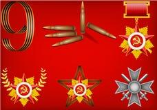 Conjunto de objetos militares, relacionado al 23 de febrero Foto de archivo libre de regalías