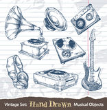 Conjunto de objetos musicales drenados mano Fotografía de archivo libre de regalías