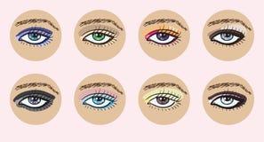 Conjunto de ojos femeninos hermosos del vector. Imágenes de archivo libres de regalías