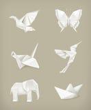 Conjunto de Origami, blanco Foto de archivo libre de regalías