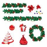 Conjunto de ornamentos de la Navidad Foto de archivo libre de regalías