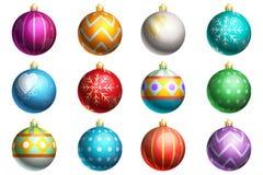 Conjunto de ornamentos de la Navidad Foto de archivo