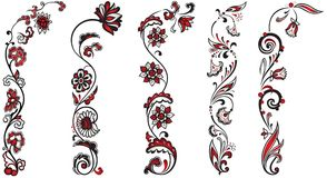 Conjunto de ornamentos florales de la decoración Fotografía de archivo