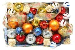 Conjunto de ornamentos y de cintas celebradores multicolores Imagen de archivo libre de regalías