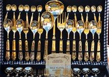 Conjunto de oro de la comida campestre Fotografía de archivo