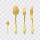 Conjunto de oro de la cuchillería Bifurcación, cuchara y cuchillo de plata Vector de los platos y cubiertos de la visión superior Fotos de archivo libres de regalías
