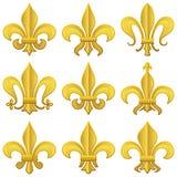 Conjunto de oro de la flor de lis Imágenes de archivo libres de regalías