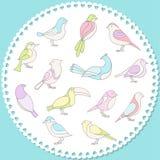 Conjunto de pájaros divertidos Fotos de archivo