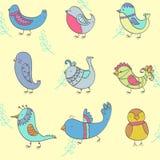 Conjunto de pájaros retros drenados mano Imagen de archivo