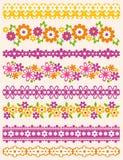 Conjunto de papel de cordón con la flor, vector Foto de archivo libre de regalías