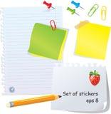 Conjunto de papel de la oficina - diversos peaces de papel ilustración del vector