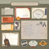 Conjunto de papel y de elementos de la vendimia Imagen de archivo