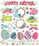 Conjunto de Pascua Flores, huevos, cinta, título, etiquetas ilustración del vector