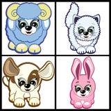 Conjunto de pequeños animales ilustración del vector