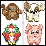 Conjunto de pequeños animales Imagen de archivo