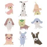 Conjunto de perros lindos foto de archivo libre de regalías