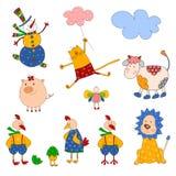 Conjunto de personajes de dibujos animados Imagenes de archivo