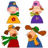 Conjunto de personajes de dibujos animados Fotos de archivo