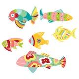 Conjunto de pescados decorativos stock de ilustración