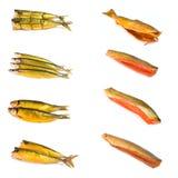Conjunto de pescados fumados imagenes de archivo