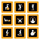 Conjunto de pictogramas de la aptitud en cuadrados Fotos de archivo