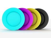 Conjunto de placas en colores de un CMYK. Foto de archivo