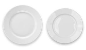 Conjunto de placas redondas aisladas en blanco Foto de archivo libre de regalías