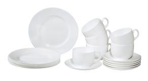 Conjunto de placas y de platos lavados frescos Imagen de archivo libre de regalías