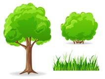 Conjunto de plantas verdes de la historieta. Árbol, arbusto, hierba. Foto de archivo