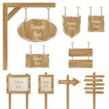 Conjunto de postes de muestra de madera del vector aislados en blanco ilustración del vector