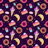 Conjunto de postres lindos Los anillos de espuma, molletes, pastas, café, té, taza, torta, helado y un cruasán Dulces sonrientes  ilustración del vector