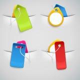 Conjunto de precios coloridos en los bolsillos Imagen de archivo libre de regalías