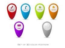 Conjunto de punteros del color 3D Fotos de archivo