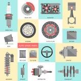 Conjunto de recambios autos Iconos de la reparación del coche en estilo plano Fotos de archivo