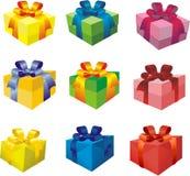 Conjunto de rectángulos de regalo coloridos Fotografía de archivo libre de regalías