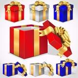 Conjunto de rectángulos de regalo coloridos del vector Imagenes de archivo