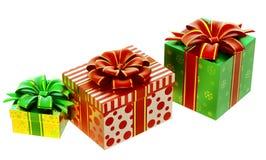 Conjunto de regalos con los arqueamientos Imágenes de archivo libres de regalías