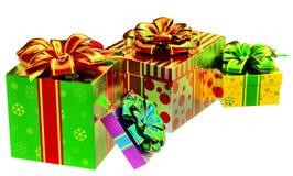 Conjunto de regalos con los arqueamientos Fotos de archivo