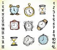 Conjunto de relojes Fotografía de archivo