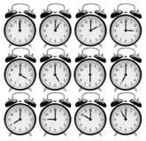 Conjunto de relojes de alarma Imagen de archivo libre de regalías